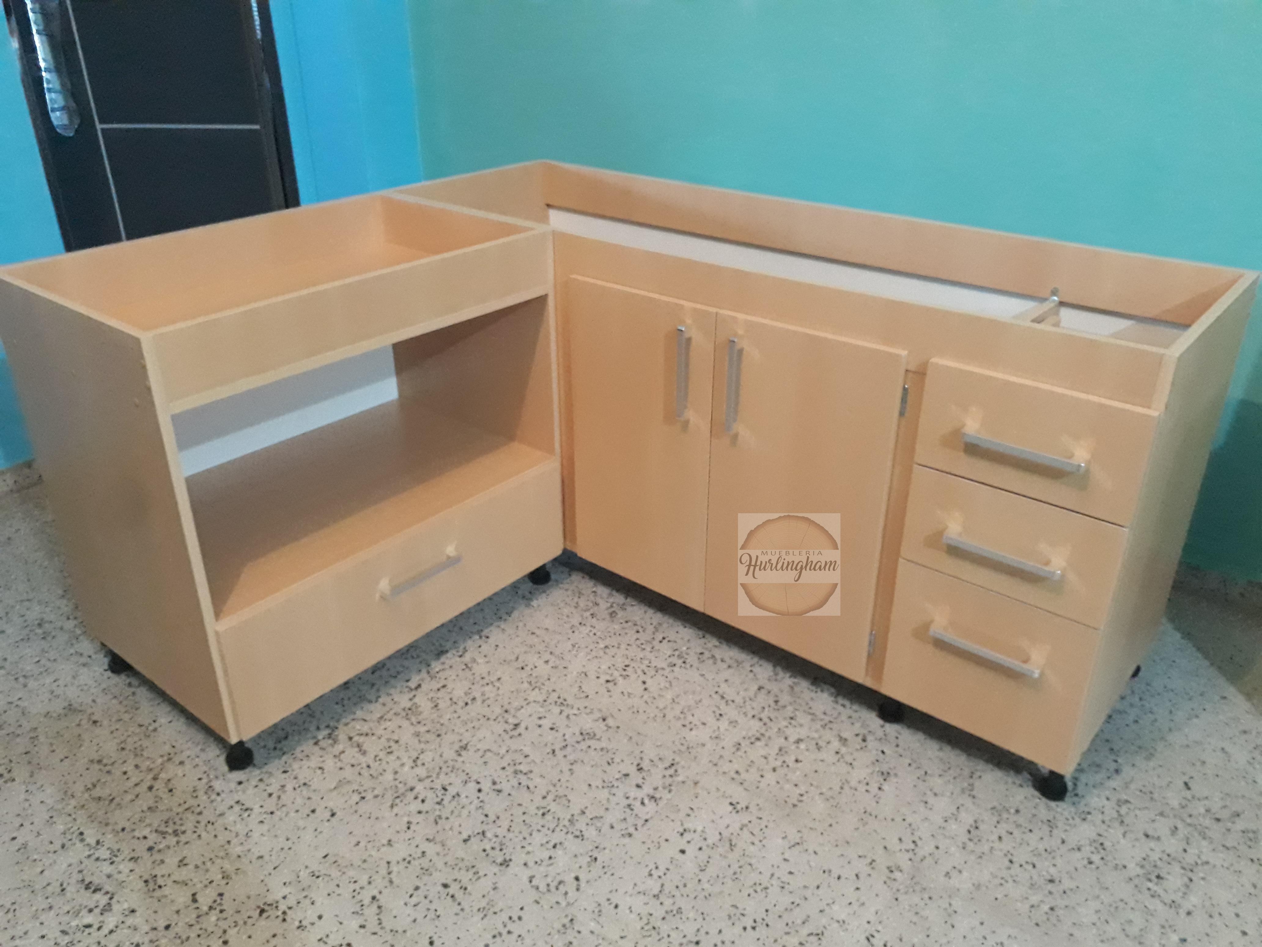 Mueble de cocina en melamina 18 mm color haya porta micro - Mueble esquinero cocina ...