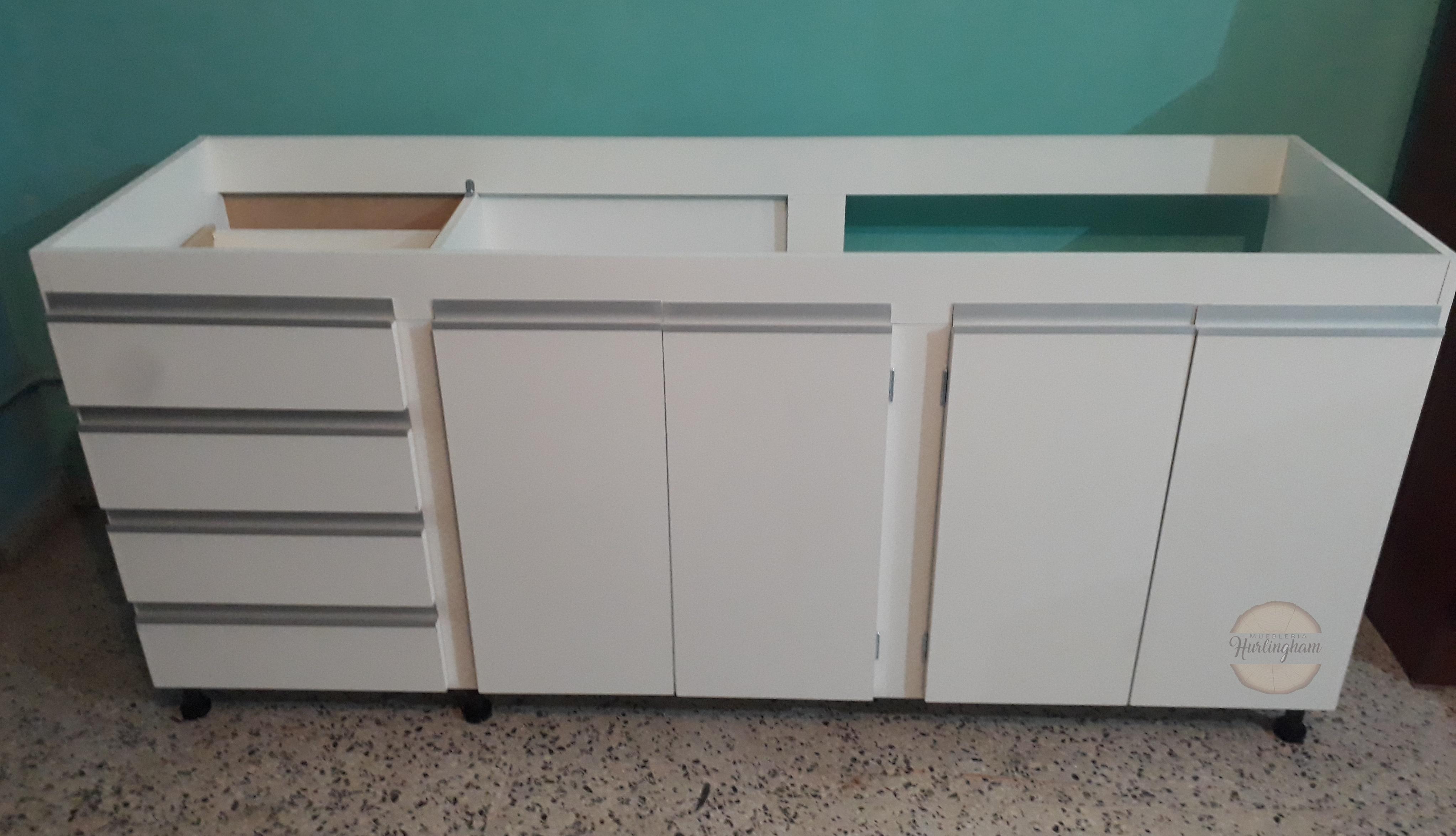 Mueble de cocina, bajo mesada en melamina 18 mm blanco con perfiles J